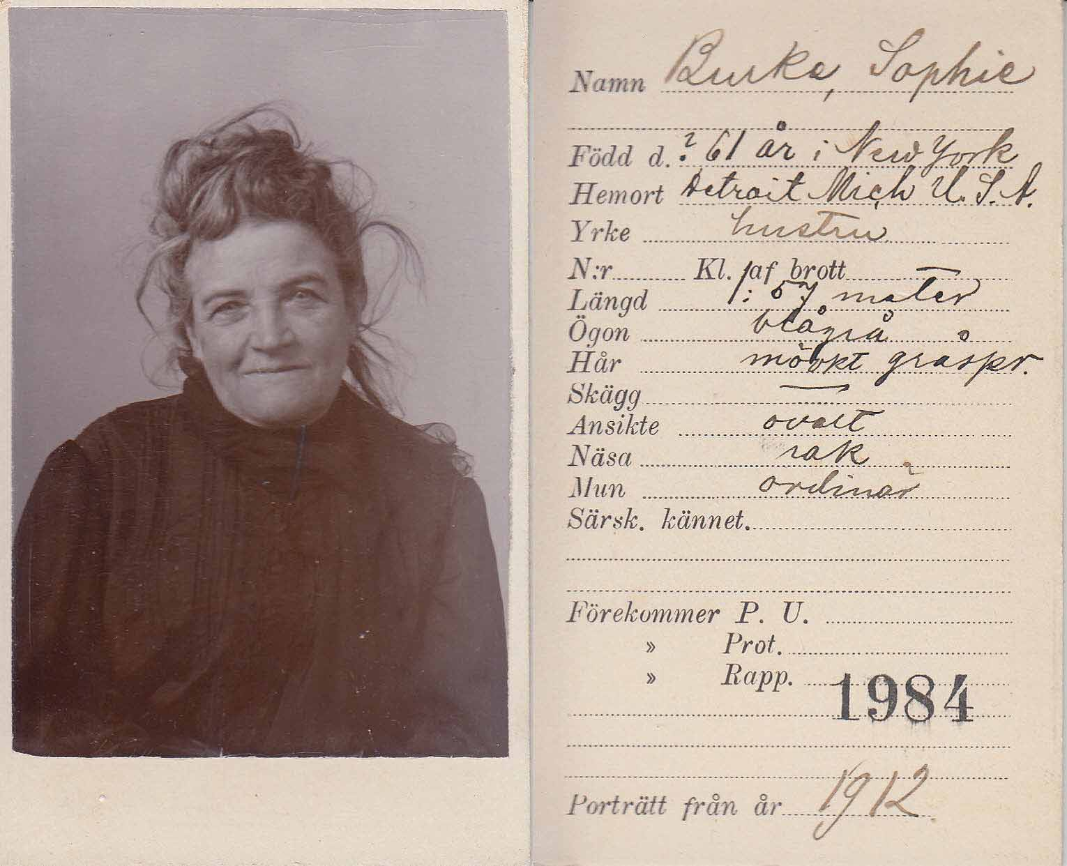 The image shows a booking photograph of Sophie Lyons after she was arrested in Sweden in 1912.